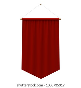 Realistic red cloth hanging banner. 3D Rendering