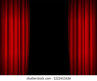 Realistic Red Opened Stage Curtains on a Black Background Element Of Interior Decoration Place for Your Text. illustration of Curtain