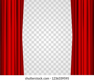 Realistic Red Opened Stage Curtains on a Transparent Background Element Of Interior Decoration Place for Your Text. illustration of Curtain