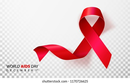 Realistic red ribbon, world aids day symbol.  illustration