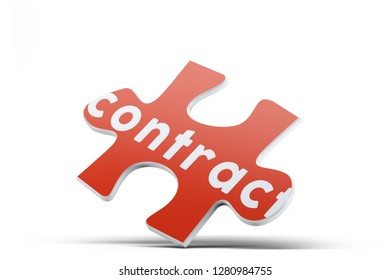 Realistic red six pieces of jigsaw puzzle with Contract text on isolated white background. 3D rendering.