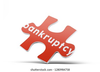 Realistic red six pieces of jigsaw puzzle with Bankruptcy text on isolated white background. 3D rendering.
