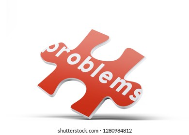 Realistic red six pieces of jigsaw puzzle with Problems text on isolated white background. 3D rendering.