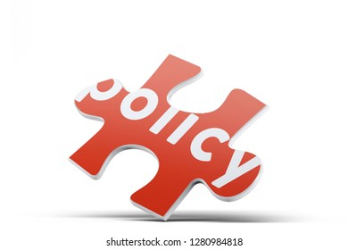 Realistic red six pieces of jigsaw puzzle with Policy text on isolated white background. 3D rendering.