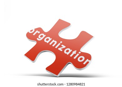 Realistic red six pieces of jigsaw puzzle with Organization text on isolated white background. 3D rendering.