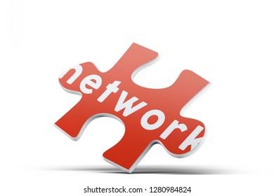 Realistic red six pieces of jigsaw puzzle with Network text on isolated white background. 3D rendering.