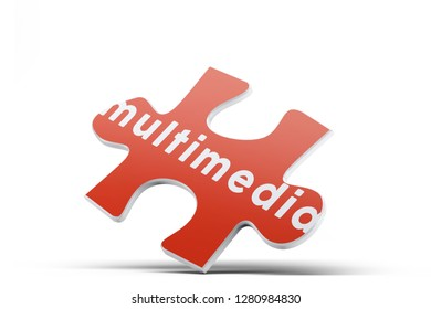 Realistic red six pieces of jigsaw puzzle with Multimedia text on isolated white background. 3D rendering.