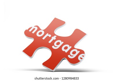Realistic red six pieces of jigsaw puzzle with Mortgage text on isolated white background. 3D rendering.