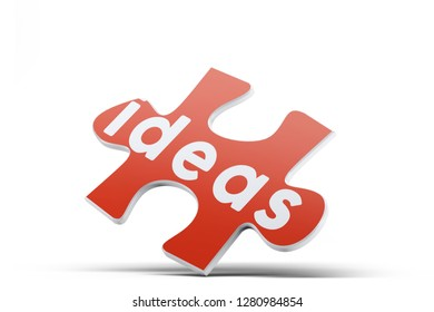 Realistic red six pieces of jigsaw puzzle with Ideas text on isolated white background. 3D rendering.