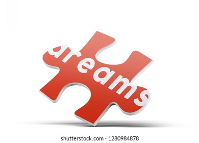 Realistic red six pieces of jigsaw puzzle with Dreams text on isolated white background. 3D rendering.