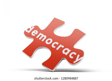 Realistic red six pieces of jigsaw puzzle with Democracy text on isolated white background. 3D rendering.