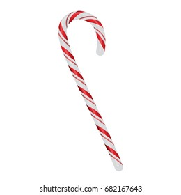 A realistic red and white Christmas candy cane isolated on a white background illustration.