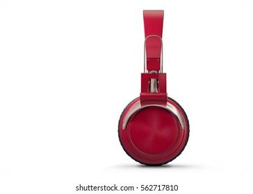 Realistic Red wireless headphones isolated on white background. Sound music headphone. Side view. Modern earphone. 3d Rendering