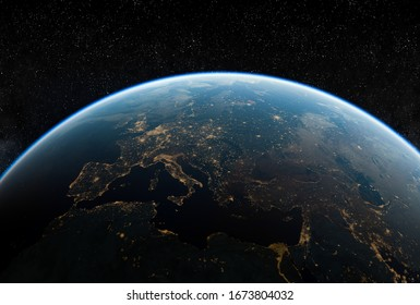 Realistic rendering of the Earth seen from space,3d illustration.
