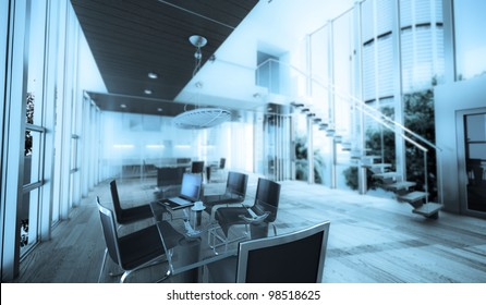 Realistic rendering of a modern luxurious office, ideal for backgrounds