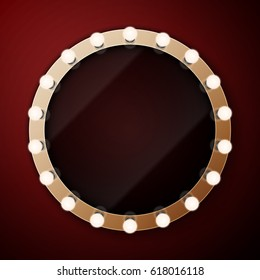 Realistic retro vintage make up mirror with light bulbs  illustration. Beauty backstage design concept.
