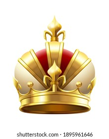 Realistic royal crown. Classic king or prince golden accessory for coronation. Luxury authority logo. Imperial 3d symbol of leadership. Monarchy medieval element  illustration