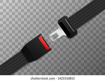 Realistic safety belt on transparent
