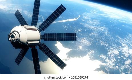 realistic satellite in low Earth orbit. 3D rendering