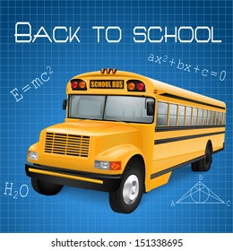 Realistic school bus on blue checkered background with formulas. Raster version.