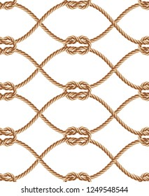 realistic seamless pattern with brown twisted ropes and loops. Decorative ornament with hemp cords, macrame weaving. Abstract print for textile products, wrapper paper