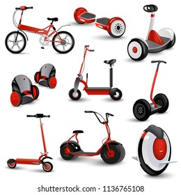 Realistic self-balancing gyro two-wheeled board scooter or hoverboard 3 colorful sets transparent background  illustration