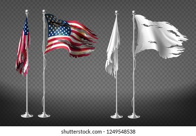 realistic set with damaged flags of United States of America on steel poles isolated on transparent background. Dirty white banners with ragged edges on flagpole. Clipart for your design