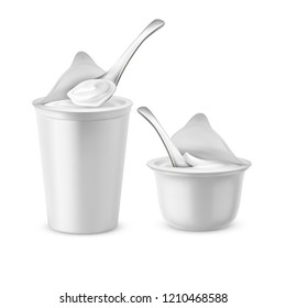 realistic set of two blank pots with open foil lids, plastic containers or jars with spoons, filled with yogurt, milk dessert or sour cream. Mockup with white cups for dairy products