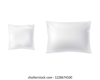 realistic set of two white pillows, square and rectangular, soft and clean, top view isolated on background. Object for sweet dreams in bedroom, mockup with blank cushions for your design