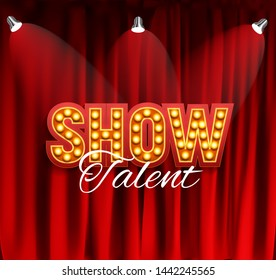 Realistic Show announcement board with bulb frame on curtains background.  Illustration