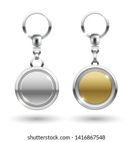 Realistic silver and gold keychains in different round shapes isolated on white background. illustration