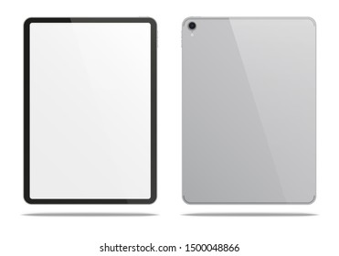 Realistic silver tablet pc isolated on white background. 3D illustration.