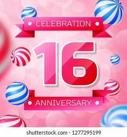 Realistic Sixteen Years Anniversary Celebration design banner. Gold numbers and blue ribbons, balloons on blue background. Colorful  template elements for your birthday party