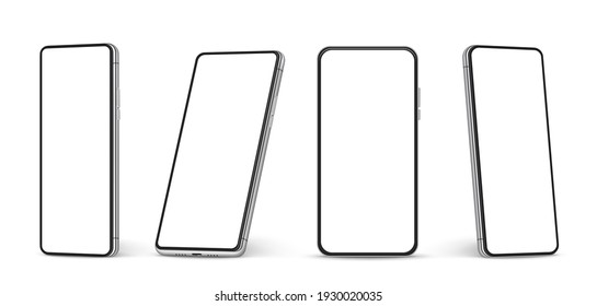 Realistic smartphone mockup. Cellphone with blank white screen, mobile phone in different angles of view 3d isolated template