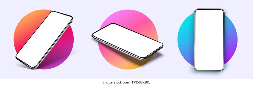 Realistic smartphone mockup. Device UI UX mockup for presentation template. . Cellphone frame with blank display isolated templates, phone different angles