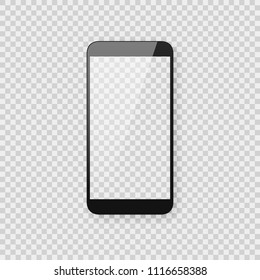Realistic smartphone mockup on transparent checkered background. Shiny black smart phone template with empty blank screen.