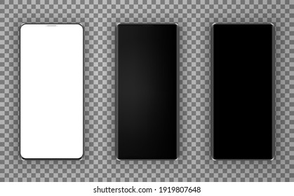 Realistic smartphone mockup set Smartphone frame less blank screen, rotated position. cell phone.