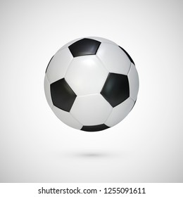 Realistic soccer ball. Black and white classic leather football ball. illustration isolated on white background