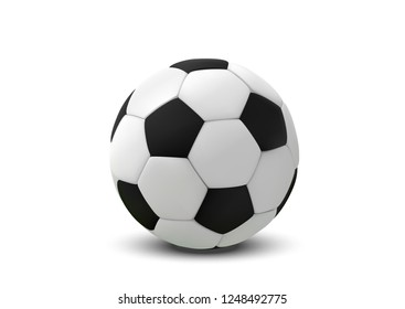 Realistic soccer ball or football ball on white background. 3d Style  Ball isolated on white background.