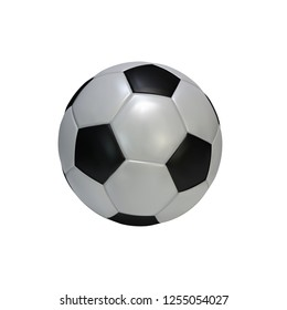 Realistic soccer ball isolated on white background. Black and white classic leather football ball. illustration