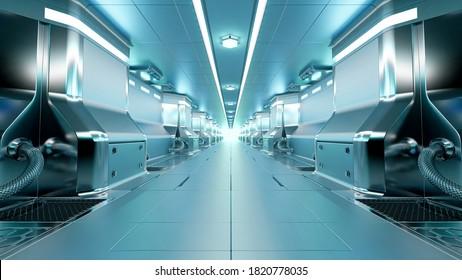 Realistic spaceship sci-fi corridor background, 3D render.