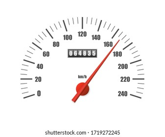 Realistic speedometer isolated on white background. Sport car odometer with motor miles measuring scale. Racing speed counter. Engine power concept template