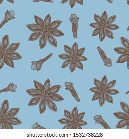 Realistic star anise seamless pattern. Color Pencil Illustration. Anise and cloves. Whole spices on a blue background. spices and seasonings
