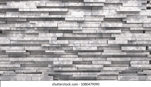 Realistic Stone Decorated Material Wall Closeup 3d Rendering