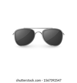 Realistic sunglasses front view. Plastic glasses with shadow. illustration isolated on white background