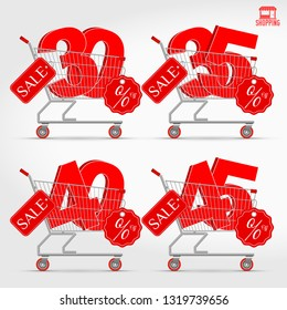 Realistic Supermarket Cart with 3D Sale Percentage Numbers. Shopping, Discount Concept. 30 - 35 - 40 - 45 Percent Discount.