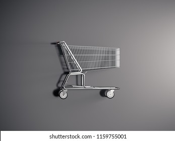 Realistic supermarket shopping cart on grey background, top view, 3d rendering.