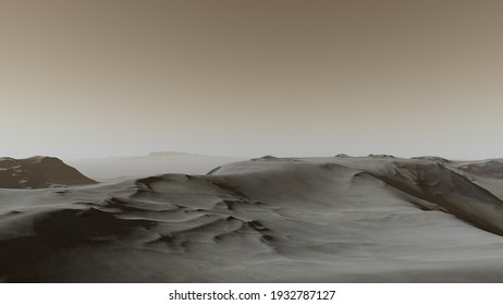realistic surface of an alien planet, view from the surface of an exo-planet, canyons on an alien planet, stone planet, desert planet 3d render