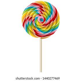 realistic swirl rainbow lollipop illustration