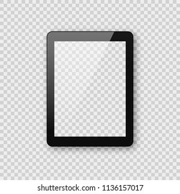 Realistic tablet mockup on transparent checkered background. Shiny black pad tablet ebook template with empty blank screen.